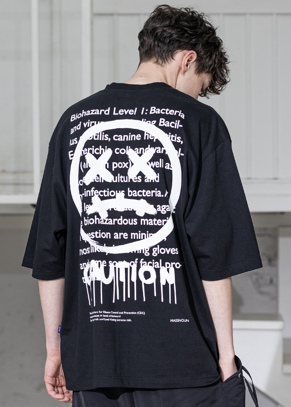 CAUTION SMILE OVERSIZED T-SHIRTS MSZTS003-BK