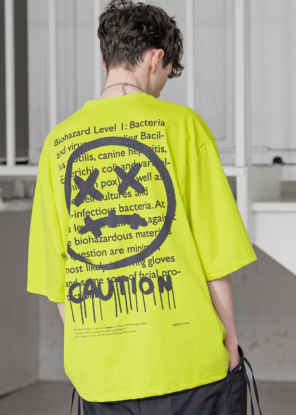 CAUTION SMILE OVERSIZED T-SHIRTS MSZTS003-LG