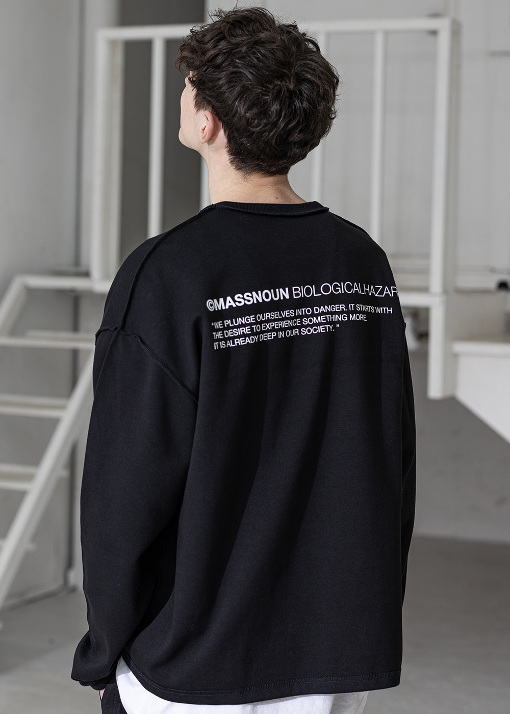 CAMPAIGN RAW EDGE OVERSIZED LONG SLEEVE MSZLS001-BK