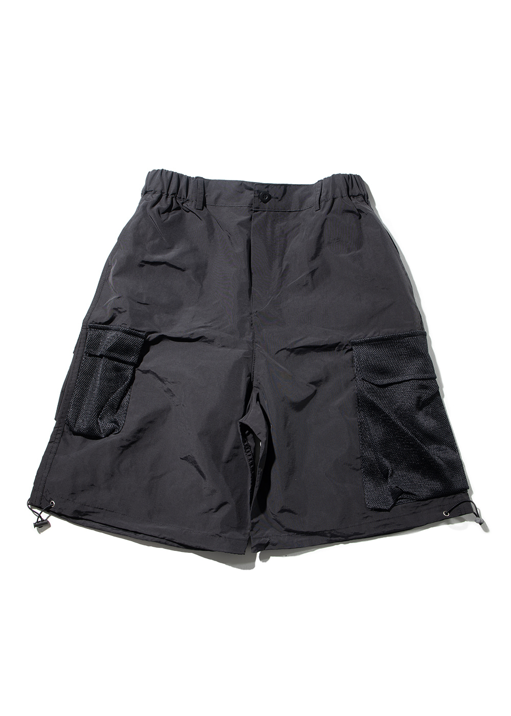 MESH CARGO POCKET SHORT PANTS MUZSP002-BK